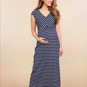 Navy Blue and Grey Striped Maxi Maternity Dress